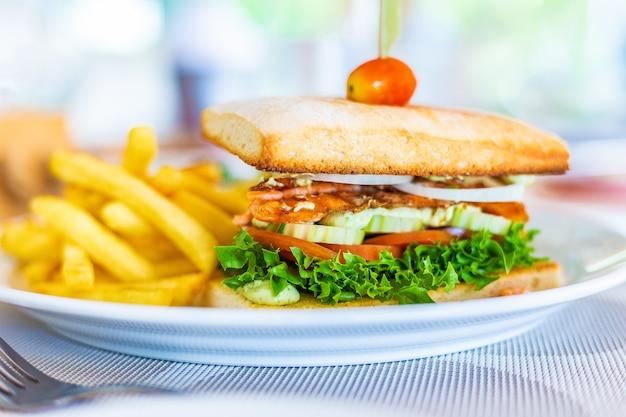 Geroosterde zalmsandwich met frieten op witte plaat