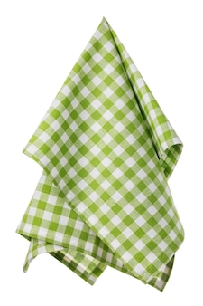 Geruite katoenen servet van groene en witte kleur geïsoleerd