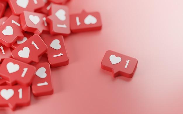 Gescheiden een liefde meldingspictogram 3d-rendering roze achtergrond