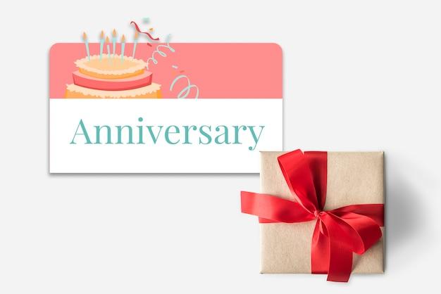 Geschenkdoos en illustratie van de viering van het verjaardagsfeestje met cake