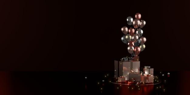 Geschenkdoos en lint vakantie decoratie achtergrond 3d illustratie