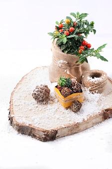 Geschenkdoos hobbels op een houten plank pot met bloemen