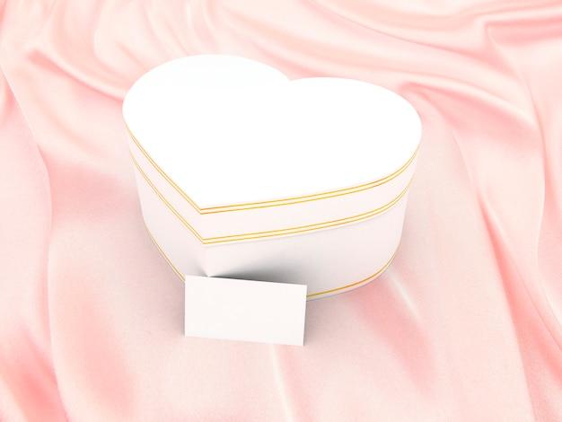 Geschenkdoos in de vorm van een hart op zijde