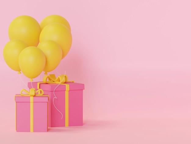 Geschenkdoos kleurrijke verjaardag en gelukkig nieuwjaar feest 3d-rendering