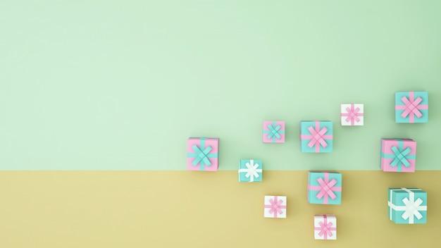 Geschenkdoos kunstwerk 3d-rendering - illustratie