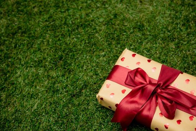 Geschenkdoos met een strik op groen gras in een tuin
