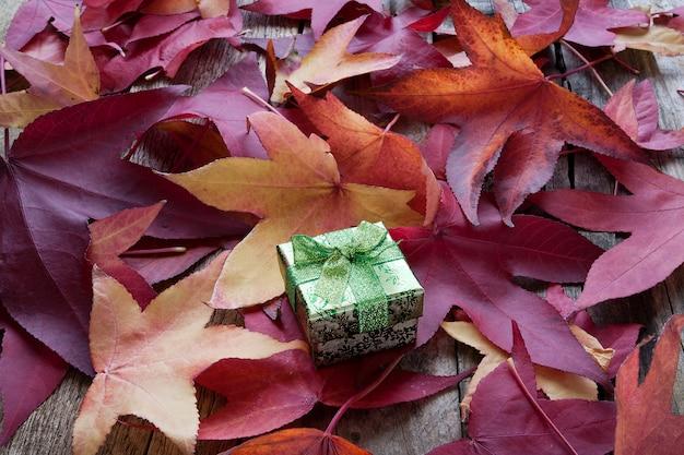 Geschenkdoos met herfstbladeren
