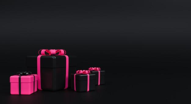 Geschenkdoos met lint op zwarte achtergrond. minimaal concept. 3d-weergave