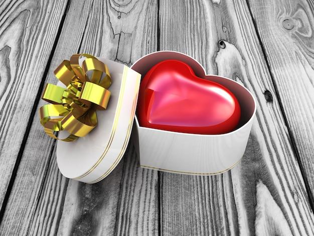 Geschenkdoos met rood hart. 3d illustratie
