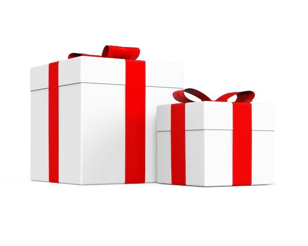 Geschenkdoos met rood lint en strik 3d-verpakkingsillustratie voor de verkoop van kerstmis nieuwjaar