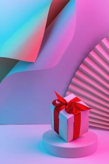 Geschenkdoos met rood lint op trendy neon kleur achtergrond