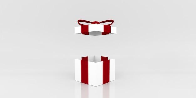 Geschenkdoos open kleur terwijl. 3d illustratie