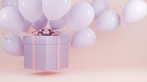 Geschenkdoos vlieg in de lucht met ballon en roze lint pastel achtergrond., kerstmis en gelukkig nieuwjaar achtergrond concept., 3d-model en illustratie.