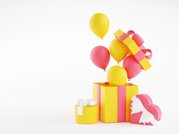 Geschenkdozen en ballonnen 3d render