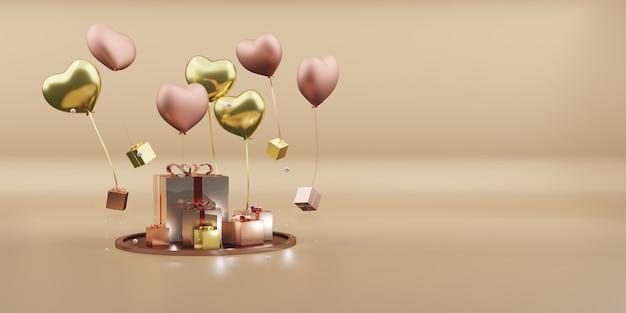 Geschenkdozen en ballonnen kerst ornamenten nieuwjaar decoratie bal 3d illustratie