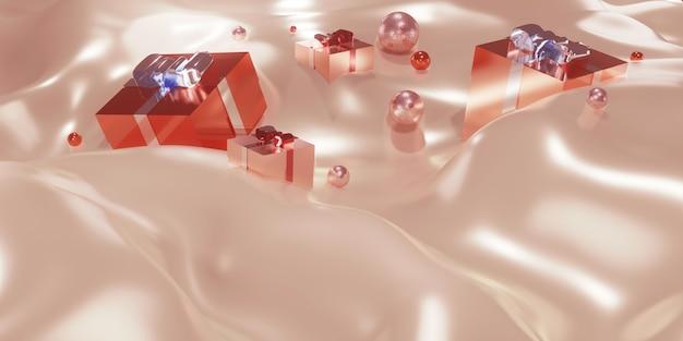 Geschenkdozen en plexiglas op golven van stof kerstmis en nieuwjaar achtergrond 3d illustratie