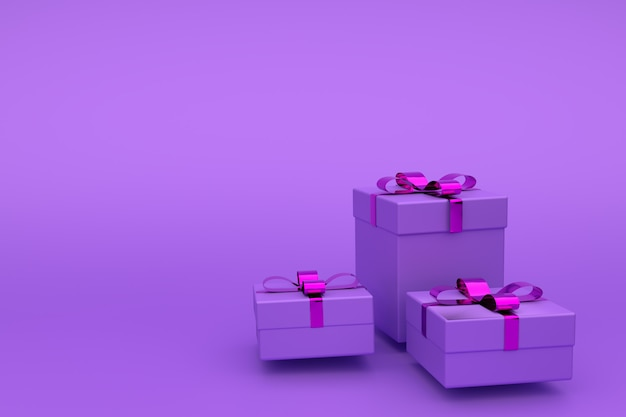 Geschenkdozen in violet papier, versierd met lint. van wenskaart, kopie copyspace, 3d cadeau ingesteld op een paars