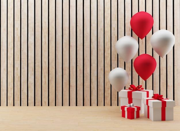 Geschenkdozen met rode en witte ballonnen