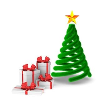 Geschenkdozen met rode strik en kerstboom. geïsoleerde 3d-weergave