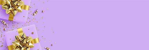 Geschenken achtergrond afbeelding met dozen van geschenken op een achtergrond van gouden confetti