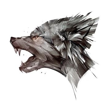 Geschilderd portret van dierlijke wolf op witte achtergrond