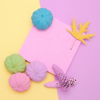 Geschilderde pompoenen herfst samenstelling. minimaal vanille plat ontwerp voor herfstseizoenen