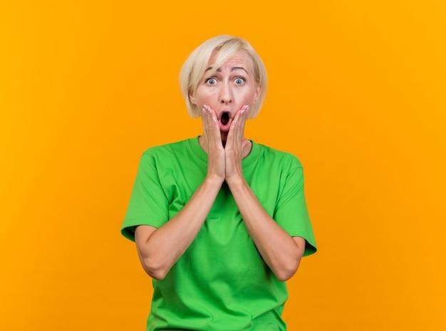 Geschokt blonde slavische vrouw van middelbare leeftijd die camera bekijkt die handen op gezicht houdt dat op gele achtergrond met exemplaarruimte wordt geïsoleerd