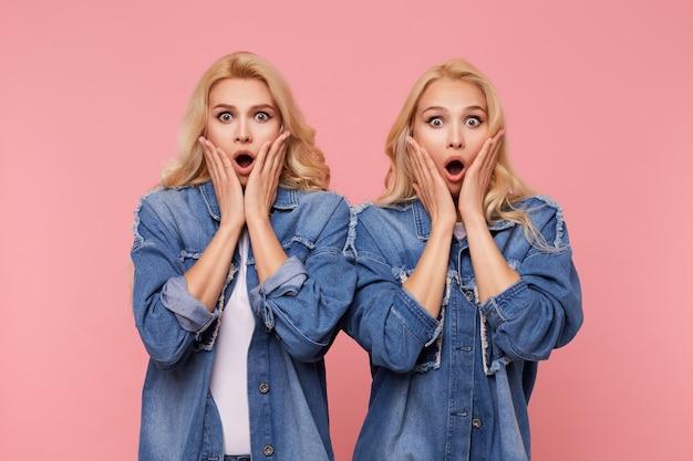 Geschokt jonge mooie witharige zussen met krullen die hun gezicht vasthouden met opgeheven handpalmen terwijl ze versuft naar de camera kijken met grote ogen geopend, geïsoleerd op roze achtergrond