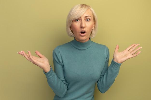 Geschokt mooie blonde slavische vrouw hand in hand open geïsoleerd op olijfgroene muur