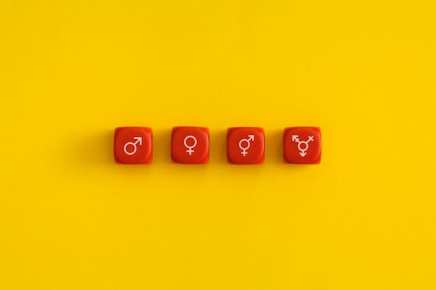 Geslacht en seksuele identiteit op een rode kubus