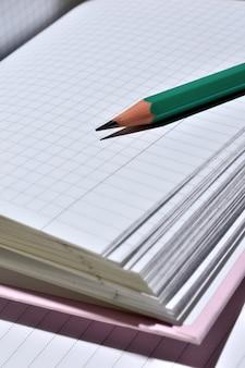 Geslepen potlood ligt op de pagina's van een open notebook.