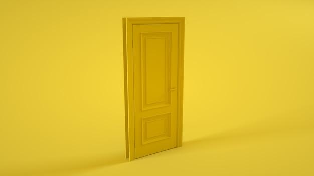 Gesloten deur op geel. 3d-afbeelding.