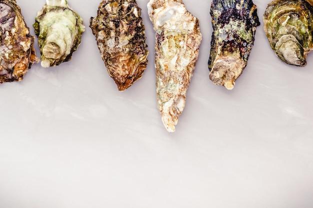 Gesloten oesters op grijze tafel met copyspace