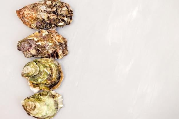 Gesloten oesters op grijze tafel.