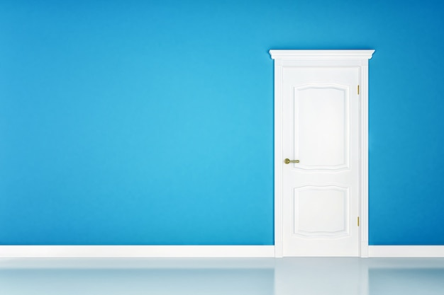 Gesloten witte deur op blauwe muuroppervlakte
