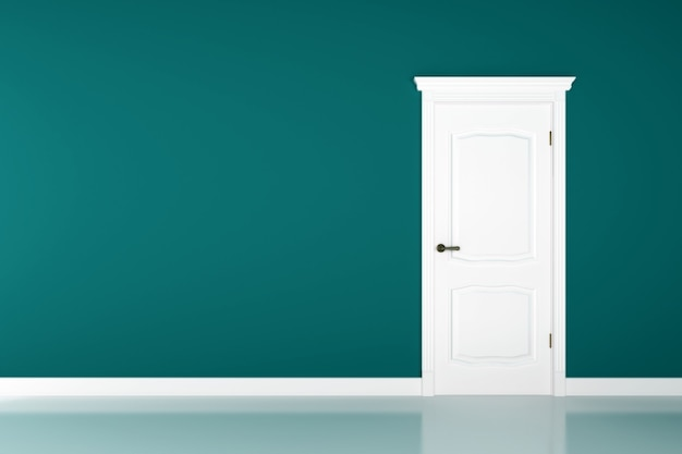 Gesloten witte deur op blauwgroen muuroppervlak