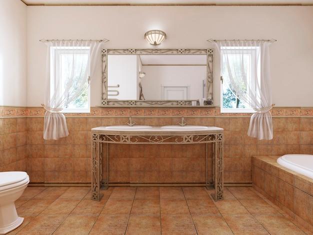 Gesmede badkamerwastafels met een spiegel en een wastafel in de klassieke badkamerstijl. 3d-weergave.