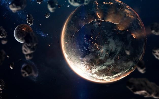 Gesmolten kern van brandende planeet. deep space-afbeelding, sciencefictionfantasie in hoge resolutie, ideaal voor behang en print. elementen van deze afbeelding geleverd door nasa
