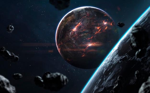 Gesmolten planeet, prachtig sciencefictionbehang met eindeloze diepe ruimte. elementen van deze afbeelding geleverd door nasa