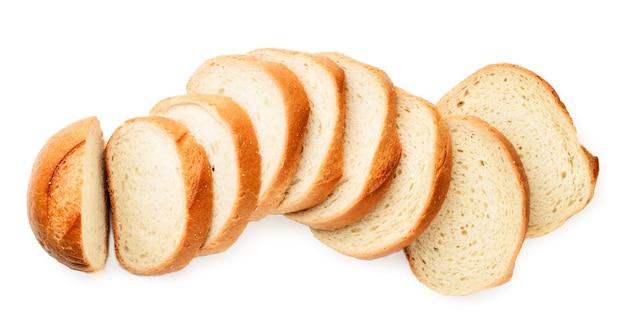 Gesneden brood bovenaanzicht op een witte achtergrond. geïsoleerd