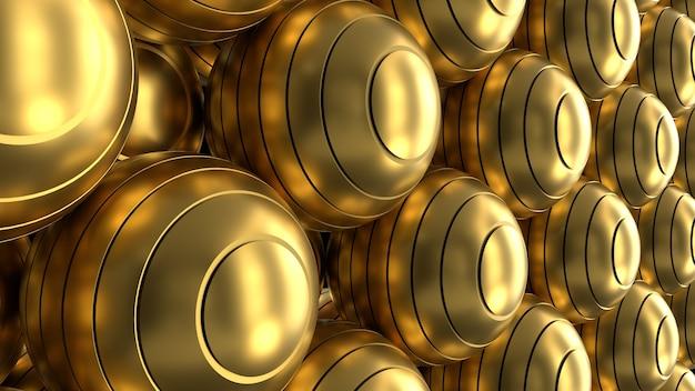Gesneden gouden bollen 3d render