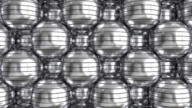 Gesneden metalen bollen 3d render