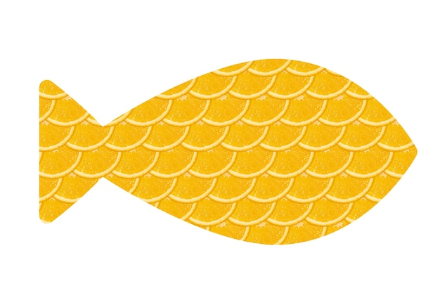 Gesneden oranje visvorm, geïsoleerde witte achtergrond. vers, sappig fruit, bron van vitamine c. creatief caféconcept.