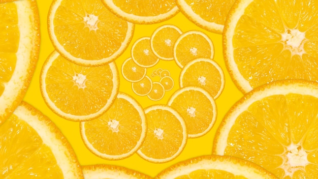 Gesneden sinaasappel, spiraalvormig patroon. fractal vers sappig fruit achtergrond. heldere plat lag achtergrond.