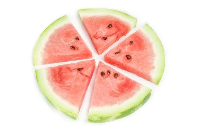 Gesneden watermeloen geïsoleerd op wit