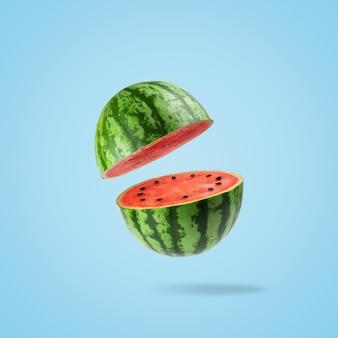 Gesneden watermeloen op een pastelblauwe achtergrond