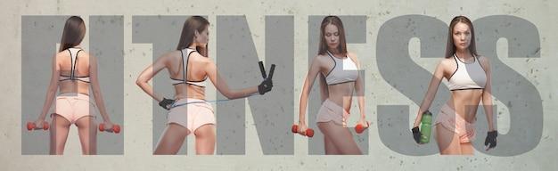 Gespierde jonge vrouwelijke atleet, creatieve collage met het grote woord fitness. kaukasische vrouw die op de studiomuur uitoefent