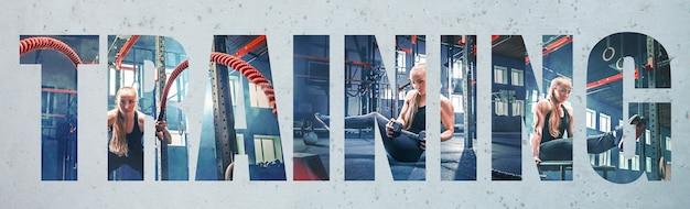 Gespierde jonge vrouwelijke atleet, creatieve collage met het grote woord training. blanke vrouw die traint in de sportschool. concept van cross-fit, fitness, beweging, sport, bodybuilding, gewichtsverlies.