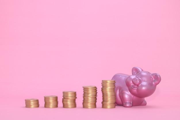 Gestapeld muntconcept financiële groeiaandelen investeren belastinginkomsten