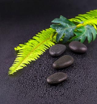Gestapelde natte spa steen met groen blad. selectieve focus.tone afbeelding